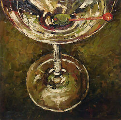 Colorful Oil Painting of a Martini Glass Close Ep Sitting on The Bar 24