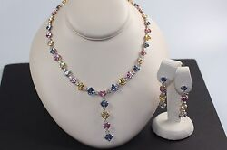 57.11ct & 11.88ct Natural Sapphire & Diamond Necklace & Earring Set *GRS CERT