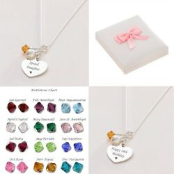 Personalised Necklace With Birthstone And Engraving Real Silver Birthday Gift