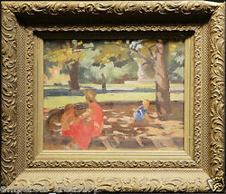 20th Century Acrylic Painting Kids And Mother By Dick Sargent American 1911-1978