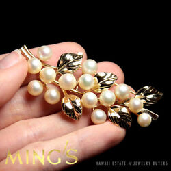 MING'S HAWAII 14K YELLOW GOLD LARGE PEARL CLUSTER LEAF BROOCH PIN