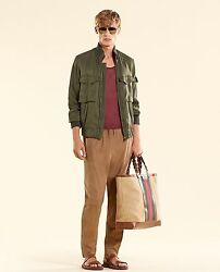 New Authentic Mens Silk Bomber Military Jacket Olive Green 333620 3356
