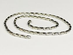 14k White Gold Cylinder Tube Link Menand039s Chain Necklace 20 28 Grams 3.5 Mm