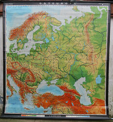 Amazing School Pull Down Geographical Chart Map Of West Europe 210cm X 220cm J29