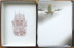 Superb Boxed Set Of 93 Hand-painted Note Papers C. 1900 - Stern Graveur Paris