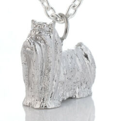 Womens Fashion Cute Dog Yorkshire Terrier Silver 925 Pendant Necklace 15-16