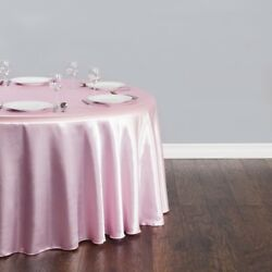 15 Packs 132 Inch Round Satin Tablecloth Wedding 25 Color 6' Ft Table Usa Sale