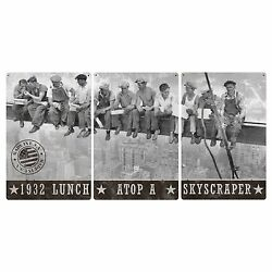 Lunch Atop A Skyscraper Triptych Metal Sign Americana Decor 72x36 And 36x18
