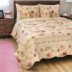 Beautiful Reversible Rose Flower Vintage Yellow Red Green Gold Pink Quilt Set