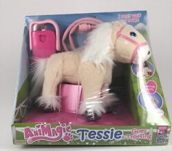 Animagic Pink Tessie Goes Trotting Blonde And White Haired Battery Operated Pony