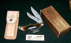Schrade 25ot Folding Bowie Knife Usa Old Timer Set 1970and039s W/packaging Paperwork