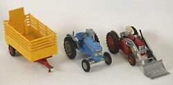 Lot Gives 3 Agricultural Vehicles In Metal. Corgi Toys. It Climbs 1/43.