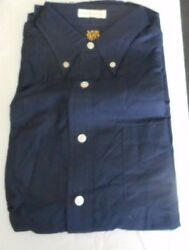 Nos 50and039s-60and039s Sears Navy Blue Button Down Back Loop Long Sleeve Mod Or Greaser L