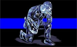 Thin Blue Line Decal - Kneeling Police Officer Down Reflective - Various Sizes