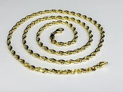 14k Solid Yellow Gold Diamond Cut Rope Link Chain/necklace 26 5mm 30 Grm R035