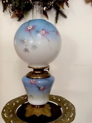 Antique 1800s Signed Lillian L Lloyd Gone With The Wind Oil Lamp M B Brass Co.