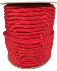 Anchor Rope Dock Line 1/2 X 400and039 Double Braided 100 Nylon Red Made In Usa