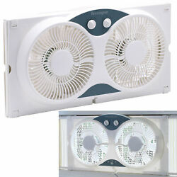 Dual Blade 9 Inch Twin Window Fan 3 Setting Airflow Control Auto Locking White