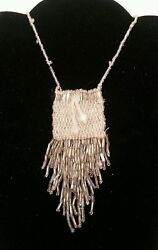 Old Zuni Beaded Medicine Bag/pouch - Silver And Clear On Necklace