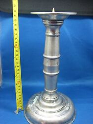 11antique European Epu Etain Zinn Engraved Solid Pewter Candle Holder Very Old