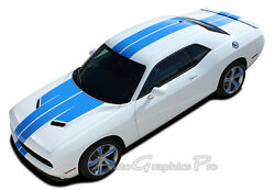Rally Winged Racing Stripes Hood Graphic Decals For 2015-2020 Dodge Challenger