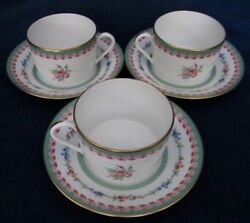 Group of 3 Cup and Saucer Sets Haviland Limoges Marie Antoinette Pattern