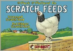 Scratch Feeds Chicken TIN SIGN Metal Vintage Farm Barn Wall Poster Decor Ad
