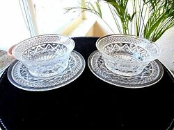 Set Of 2 Imperial Glass Cape Cod Condiment Dishes With Bottom Plate