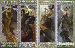 Lune et etoiles by Alphons Mucha Giclee Canvas Print Repro $34.99