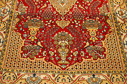 C1930s Antique Silk Accents Qome Rug 4.7x6.6 Highly Detailed_high Kpsi