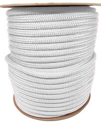 Anchor Rope Dock Line 1/2 X 350and039 Double Braided 100 Nylon White Made In Usa