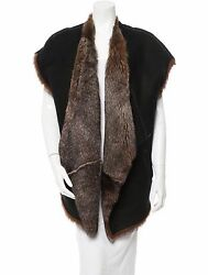 Stunning New 3900 Sold Out Double-sided Donna Karan Open Shearling Fur Vest