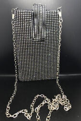 New Black Rhinestone Mesh Cellphone Evening Bag With Silver Chain Shoulder Strap