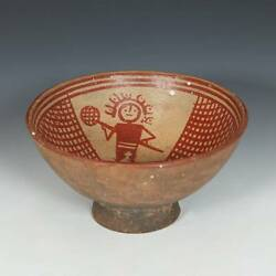 Pre-columbian Tuza Narino Culture Footed Bowl With Figural Motifs Pottery