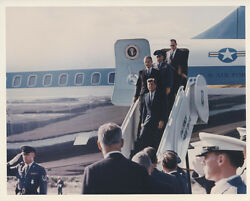 Reprint Photograph Of President John F Kennedy Exiting Air Force One W/ Staff