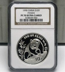 China 1990 1oz Proof Silver Panda Coin Ngc Pf70 Uc In Old Holder