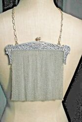 Ladies Large Antique .800 Silver Mesh and Filigree Purse  Hand Bag