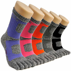 5 Pairs Womenand039s Crew Sports Running Cycling Coolmax Cotton Five Finger Toe Socks