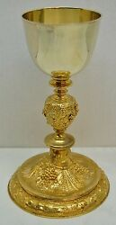 Antique Cup Sterling Silver,gold Plated Chalice And Paten With Case - 4026