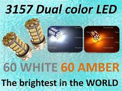 3157 Switchback Dual Color 60 60 SMD LED Turn Signal Light Bulbs White and Amber
