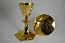 8 1/2 Gold Plated Chalice And Paten Over Solid Sterling Silver W/ Diamond + Case