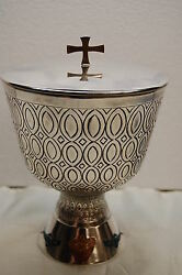 Hand Embossed Enamel Church Ciborium 534 - Cup Sterling Silver - Made In Spain.
