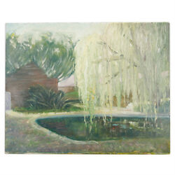 Untitled Willow Tree Over Pond By Anthony Sidoni Oil Painting 8x10
