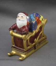 Limoges Peint Main Santa Clause Sleigh Gifts Hinged Trinket Box France Eximious