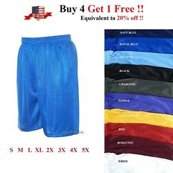 MENS ATHLETIC JERSEY 2 POCKET MESH SHORTS GYM WORKOUT BASKETBALL FITNESS S-5X $9.20