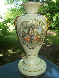 Vintage Sabin China Table Lamp Base Gold Trim 1700and039s Couple 22k Rare 1930-1940s