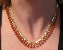Superb Rare 1940and039s 50and039s 18ct Gold Coral Fringed Collar Necklace Wow