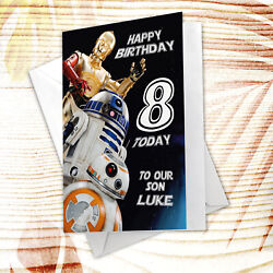 C010 Large Personalised Birthday Card Custom Made For Any Name Star Wars