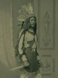 Frontiersman W/native American Costume, Bowie Knife And Posing Stand Tintype