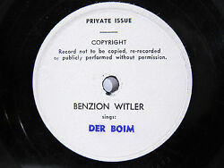 78rpm Ben-zion Witler Sings In Yiddish Der Boim - Rare Private Issue Record